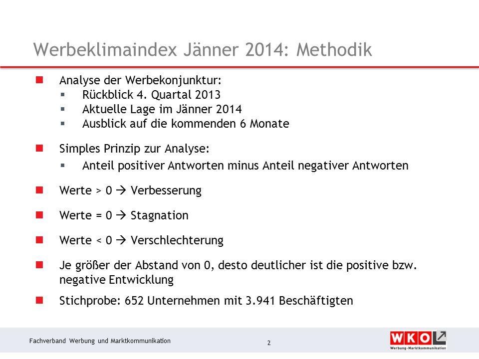 Fachverband Werbung und Marktkommunikation Werbeklimaindex Jänner 2014: Methodik Analyse der Werbekonjunktur:  Rückblick 4.
