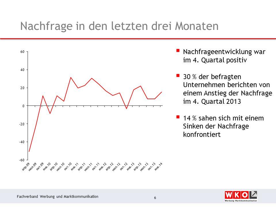 Fachverband Werbung und Marktkommunikation Nachfrage in den letzten drei Monaten 6  Nachfrageentwicklung war im 4.