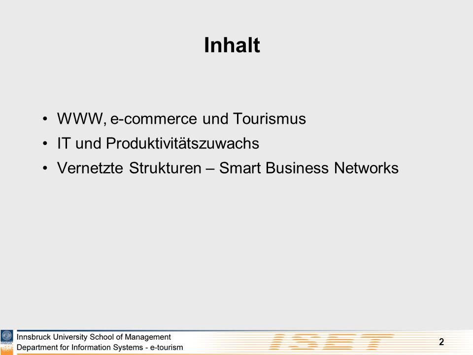 2 Inhalt WWW, e-commerce und Tourismus IT und Produktivitätszuwachs Vernetzte Strukturen – Smart Business Networks