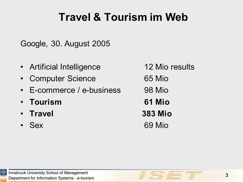 3 Travel & Tourism im Web Google, 30. August 2005 Artificial Intelligence 12 Mio results Computer Science 65 Mio E-commerce / e-business 98 Mio Touris