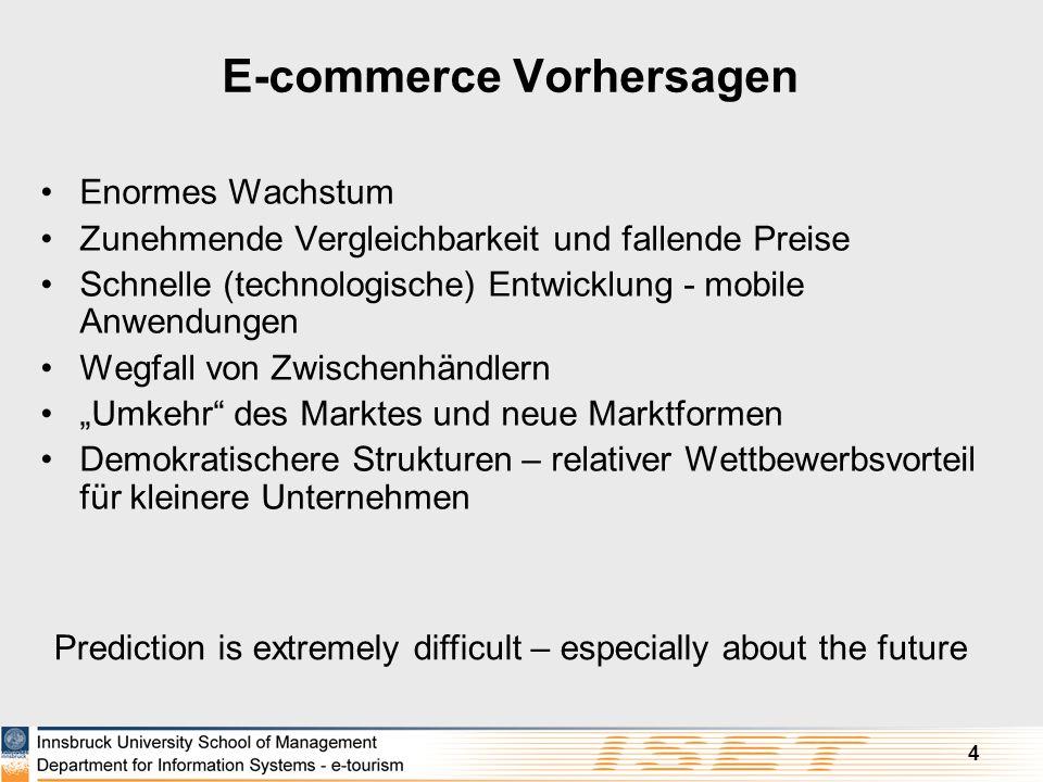 4 E-commerce Vorhersagen Enormes Wachstum Zunehmende Vergleichbarkeit und fallende Preise Schnelle (technologische) Entwicklung - mobile Anwendungen W