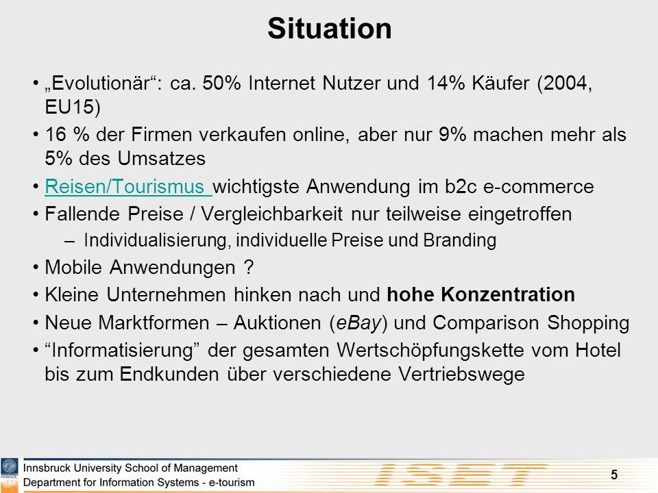 """5 Situation """"Evolutionär"""": ca. 50% Internet Nutzer und 14% Käufer (2004, EU15) 16 % der Firmen verkaufen online, aber nur 9% machen mehr als 5% des Um"""