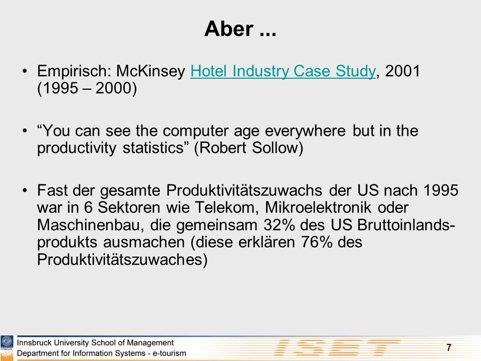 """7 Aber... Empirisch: McKinsey Hotel Industry Case Study, 2001 (1995 – 2000)Hotel Industry Case Study """"You can see the computer age everywhere but in t"""