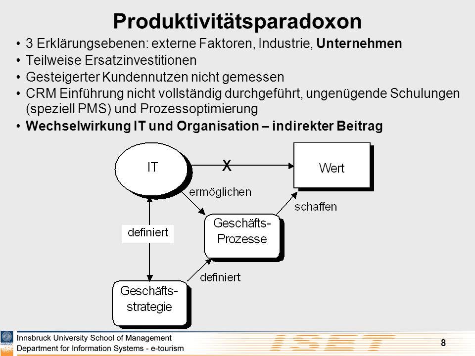 8 Produktivitätsparadoxon 3 Erklärungsebenen: externe Faktoren, Industrie, Unternehmen Teilweise Ersatzinvestitionen Gesteigerter Kundennutzen nicht g