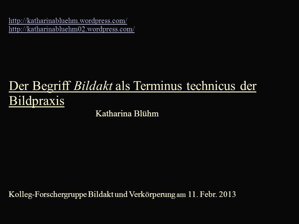 http://katharinabluehm.wordpress.com/ http://katharinabluehm02.wordpress.com/ Der Begriff Bildakt als Terminus technicus der Bildpraxis Katharina Blühm Kolleg-Forschergruppe Bildakt und Verkörperung am 11.