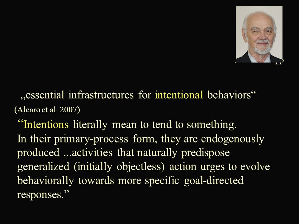 """essential infrastructures for intentional behaviors (Alcaro et al."