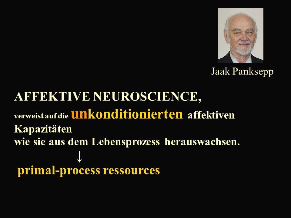Jaak Panksepp AFFEKTIVE NEUROSCIENCE, verweist auf die un konditionierten affektiven Kapazitäten wie sie aus dem Lebensprozess herauswachsen.