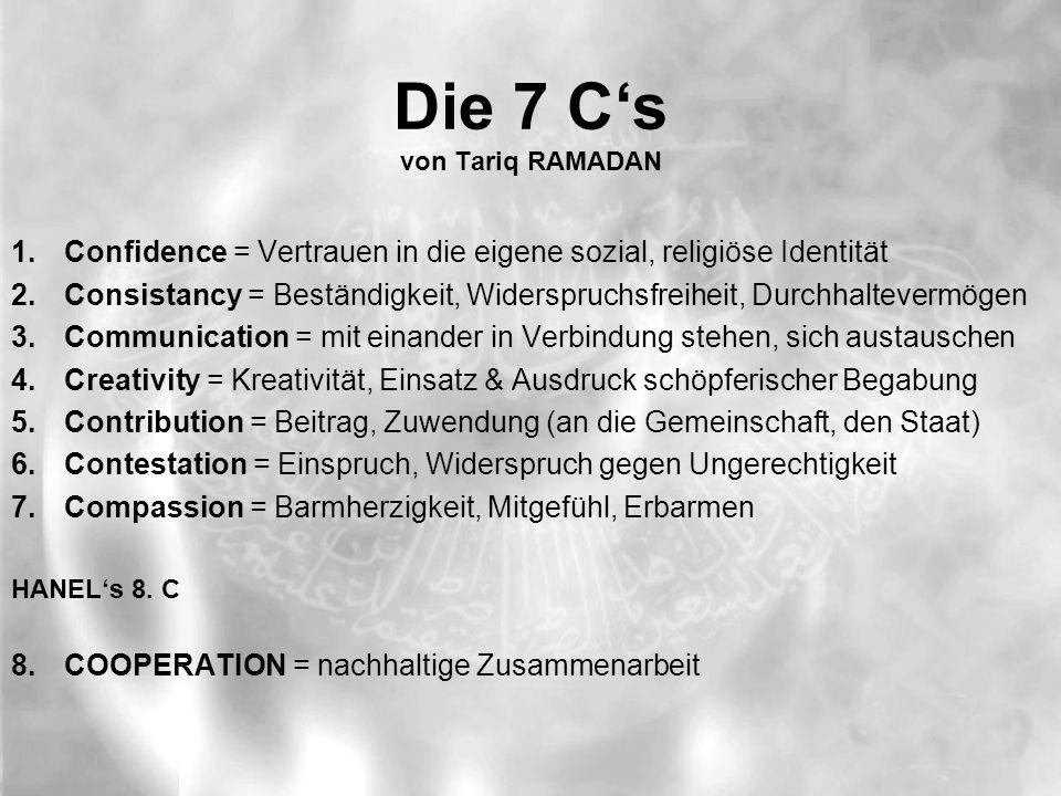Die 7 C's von Tariq RAMADAN 1.Confidence = Vertrauen in die eigene sozial, religiöse Identität 2.Consistancy = Beständigkeit, Widerspruchsfreiheit, Durchhaltevermögen 3.Communication = mit einander in Verbindung stehen, sich austauschen 4.Creativity = Kreativität, Einsatz & Ausdruck schöpferischer Begabung 5.Contribution = Beitrag, Zuwendung (an die Gemeinschaft, den Staat) 6.Contestation = Einspruch, Widerspruch gegen Ungerechtigkeit 7.Compassion = Barmherzigkeit, Mitgefühl, Erbarmen HANEL's 8.