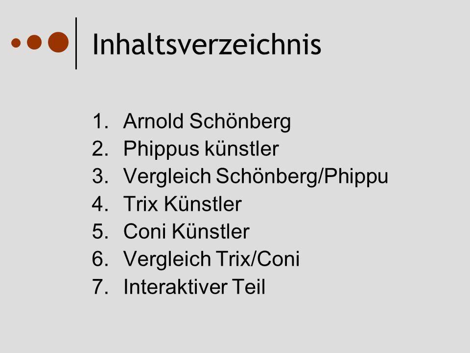 Inhaltsverzeichnis 1.Arnold Schönberg 2.Phippus künstler 3.Vergleich Schönberg/Phippu 4.Trix Künstler 5.Coni Künstler 6.Vergleich Trix/Coni 7.Interaktiver Teil