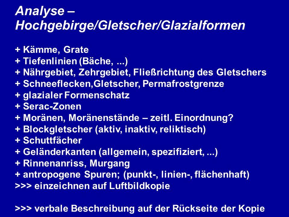 Analyse – Hochgebirge/Gletscher/Glazialformen + Kämme, Grate + Tiefenlinien (Bäche,...) + Nährgebiet, Zehrgebiet, Fließrichtung des Gletschers + Schneeflecken,Gletscher, Permafrostgrenze + glazialer Formenschatz + Serac-Zonen + Moränen, Moränenstände – zeitl.