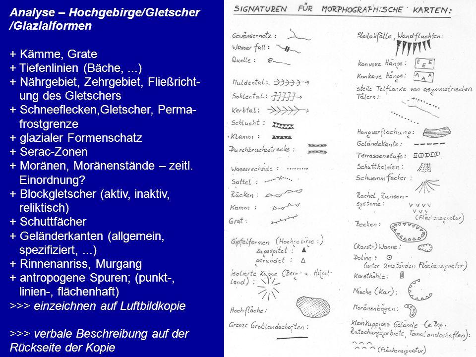 Analyse – Hochgebirge/Gletscher /Glazialformen + Kämme, Grate + Tiefenlinien (Bäche,...) + Nährgebiet, Zehrgebiet, Fließricht- ung des Gletschers + Schneeflecken,Gletscher, Perma- frostgrenze + glazialer Formenschatz + Serac-Zonen + Moränen, Moränenstände – zeitl.