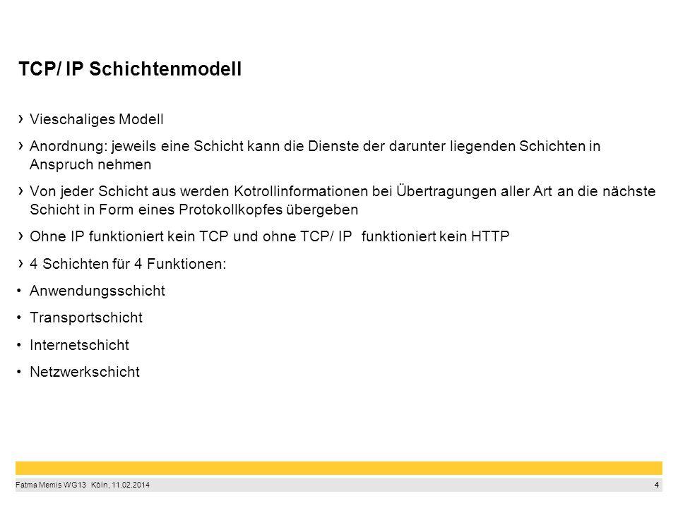 4 Fatma Memis WG13  Köln, 11.02.2014 TCP/ IP Schichtenmodell Vieschaliges Modell Anordnung: jeweils eine Schicht kann die Dienste der darunter lieg