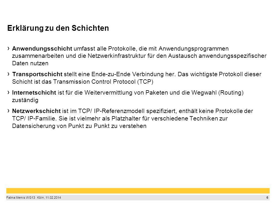6 Fatma Memis WG13  Köln, 11.02.2014 Erklärung zu den Schichten Anwendungsschicht umfasst alle Protokolle, die mit Anwendungsprogrammen zusammenarb