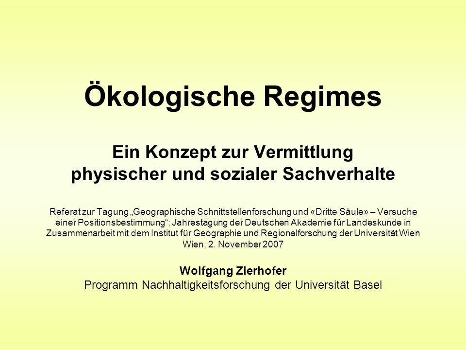 """Ökologische Regimes Ein Konzept zur Vermittlung physischer und sozialer Sachverhalte Referat zur Tagung """"Geographische Schnittstellenforschung und «Dr"""