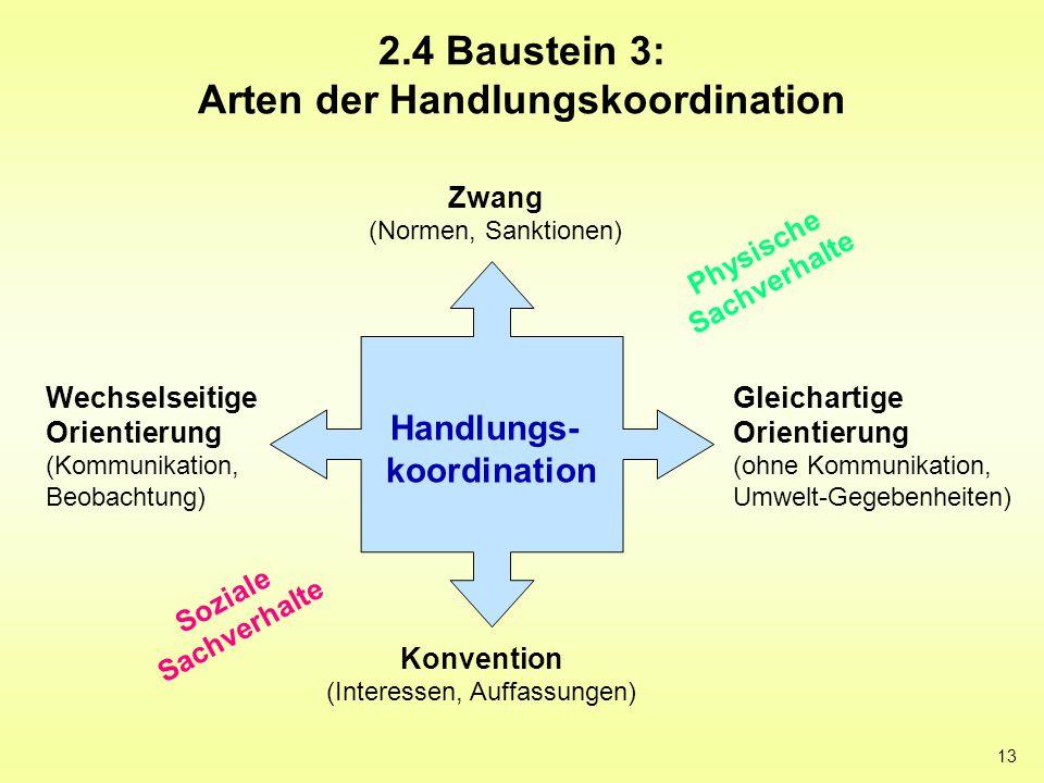 13 2.4 Baustein 3: Arten der Handlungskoordination Zwang (Normen, Sanktionen) Konvention (Interessen, Auffassungen) Gleichartige Orientierung (ohne Ko