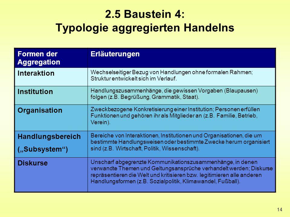 14 2.5 Baustein 4: Typologie aggregierten Handelns Formen der Aggregation Erläuterungen Interaktion Wechselseitiger Bezug von Handlungen ohne formalen