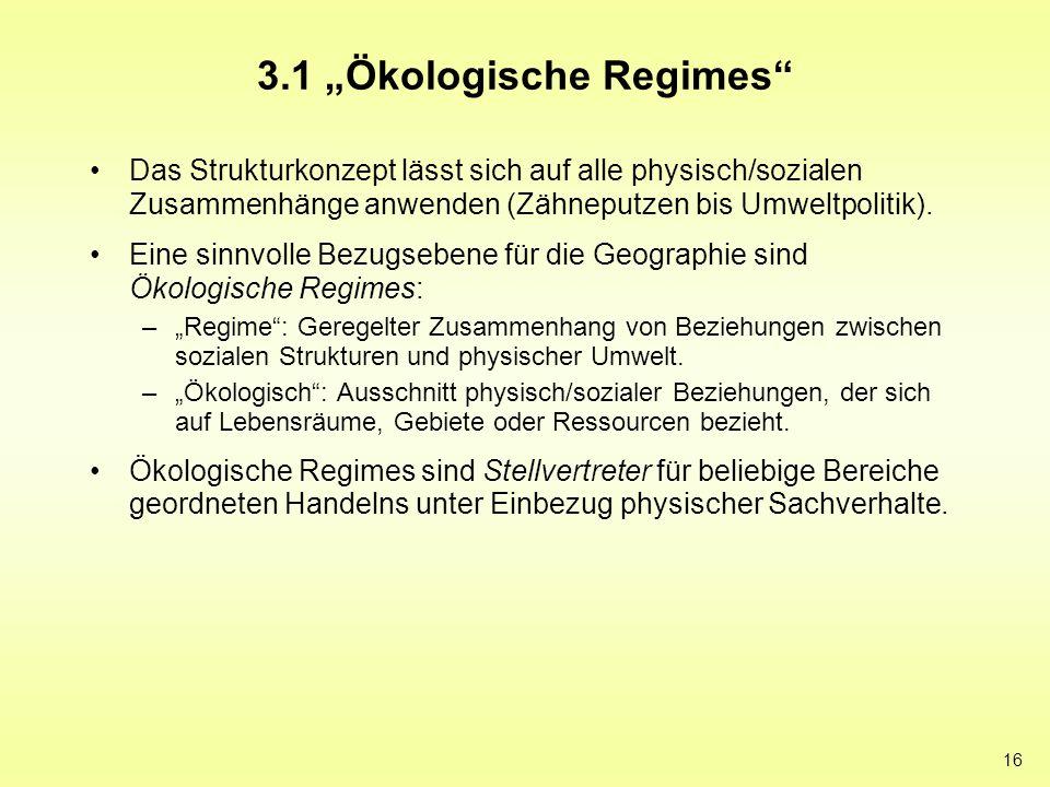 """16 3.1 """"Ökologische Regimes"""" Das Strukturkonzept lässt sich auf alle physisch/sozialen Zusammenhänge anwenden (Zähneputzen bis Umweltpolitik). Eine si"""