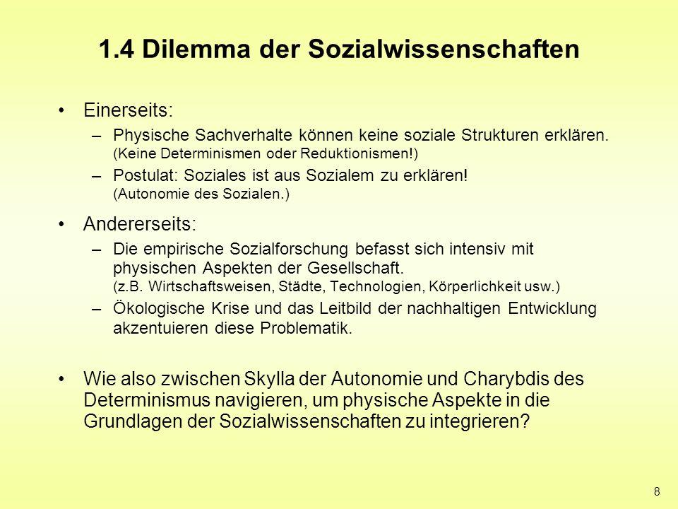 8 1.4 Dilemma der Sozialwissenschaften Einerseits: –Physische Sachverhalte können keine soziale Strukturen erklären. (Keine Determinismen oder Redukti