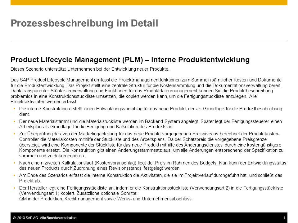 ©2013 SAP AG. Alle Rechte vorbehalten.4 Prozessbeschreibung im Detail Product Lifecycle Management (PLM) – Interne Produktentwicklung Dieses Szenario