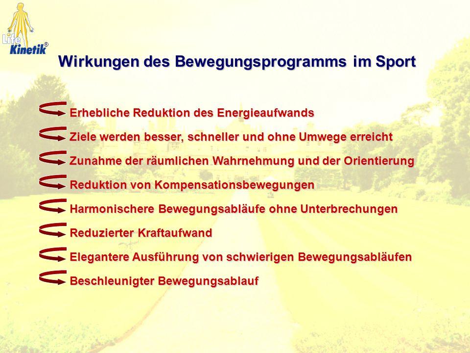 Allgemeine Wirkungen des Bewegungsprogramms Emotionale Stressreduzierung Körperliche Entspannung Verbesserung der Konzentration Erhöhte Aufnahmekapazi