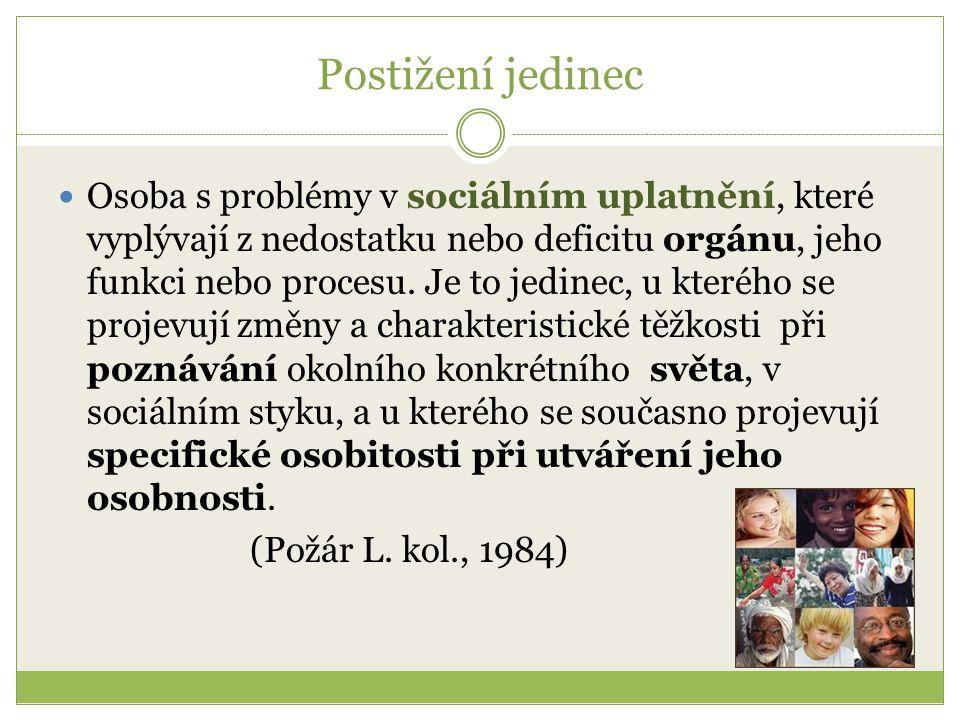 Postižení jedinec Osoba s problémy v sociálním uplatnění, které vyplývají z nedostatku nebo deficitu orgánu, jeho funkci nebo procesu.