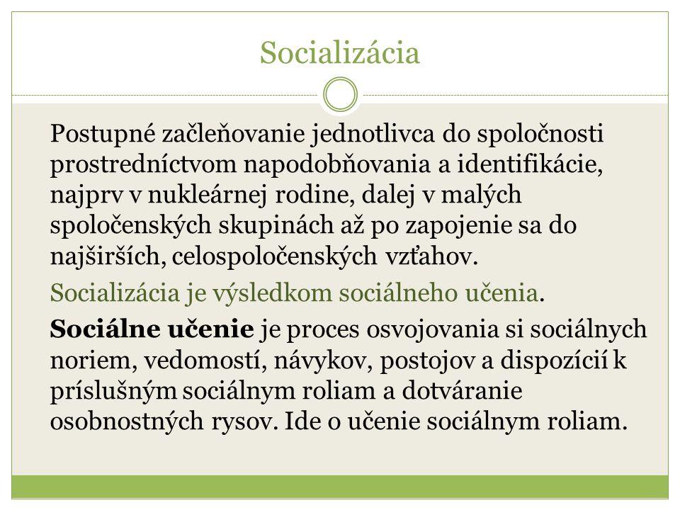 Socializácia Postupné začleňovanie jednotlivca do spoločnosti prostredníctvom napodobňovania a identifikácie, najprv v nukleárnej rodine, dalej v malých spoločenských skupinách až po zapojenie sa do najširších, celospoločenských vzťahov.