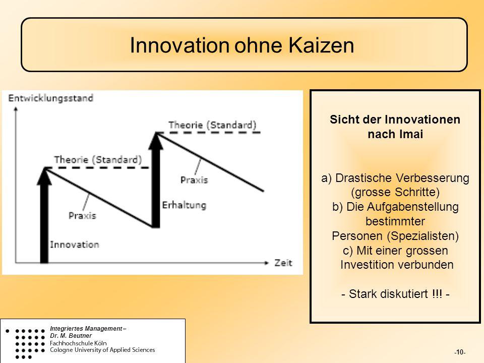 -10- Integriertes Management – Dr. M. Beutner Innovation ohne Kaizen Sicht der Innovationen nach Imai a) Drastische Verbesserung (grosse Schritte) b)