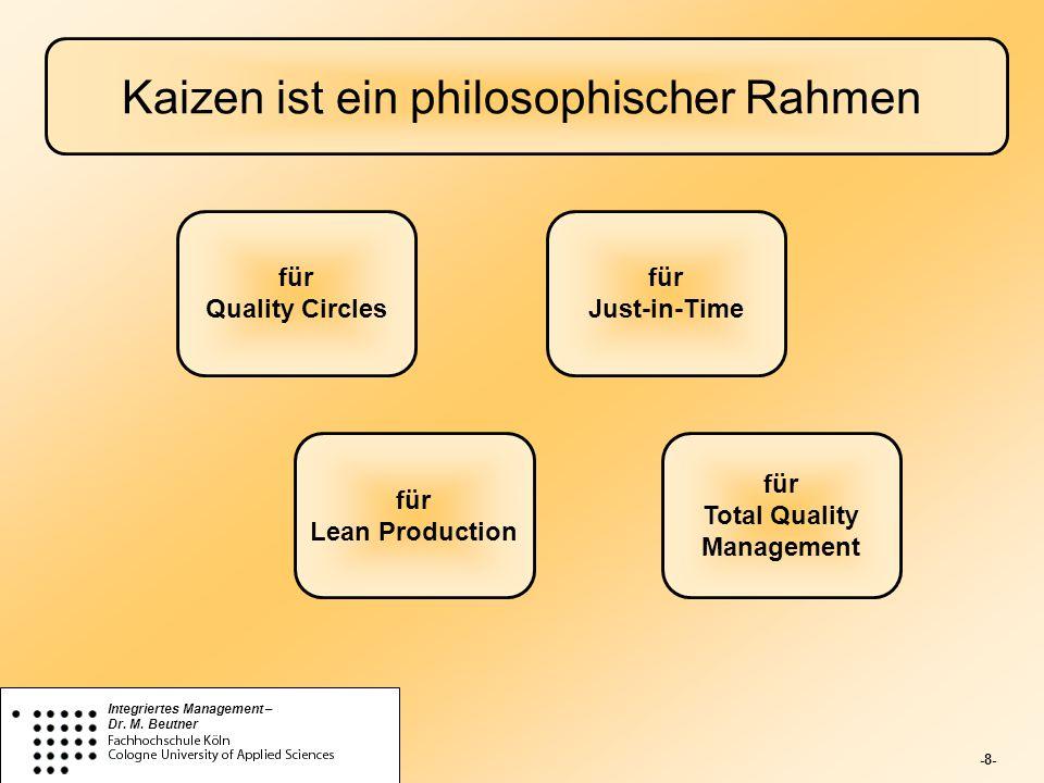 -8- Integriertes Management – Dr. M. Beutner Kaizen ist ein philosophischer Rahmen für Quality Circles für Lean Production für Just-in-Time für Total