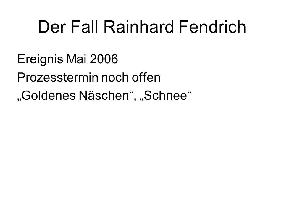 """Der Fall Rainhard Fendrich Ereignis Mai 2006 Prozesstermin noch offen """"Goldenes Näschen"""", """"Schnee"""""""