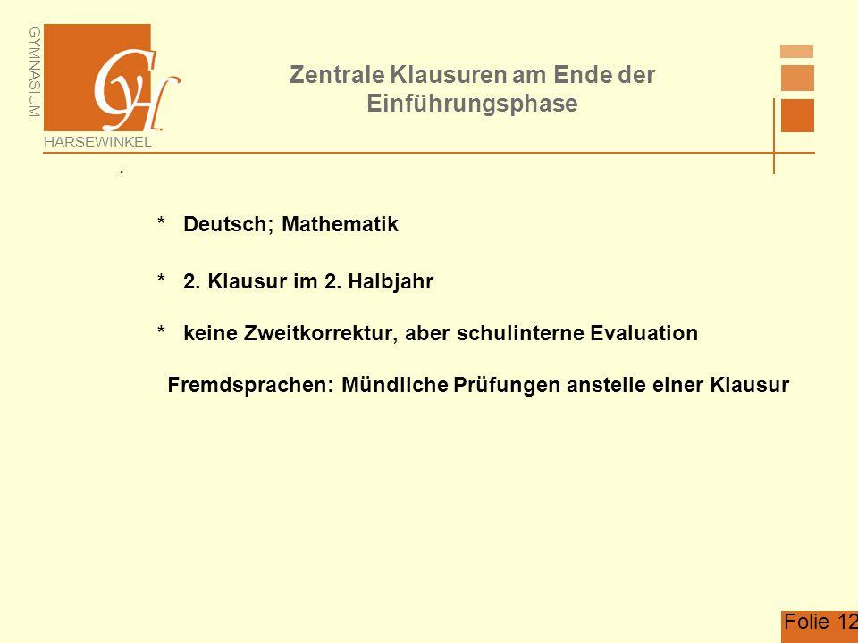 GYMNASIUM HARSEWINKEL Folie 12 Zentrale Klausuren am Ende der Einführungsphase  * Deutsch; Mathematik * 2. Klausur im 2. Halbjahr * keine Zweitkorrek