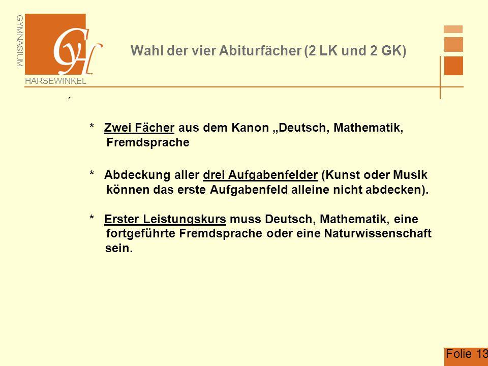 """GYMNASIUM HARSEWINKEL Folie 13 Wahl der vier Abiturfächer (2 LK und 2 GK)  * Zwei Fächer aus dem Kanon """"Deutsch, Mathematik, Fremdsprache * Abdeckung"""