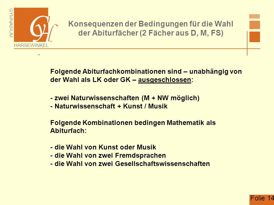GYMNASIUM HARSEWINKEL Folie 14 Konsequenzen der Bedingungen für die Wahl der Abiturfächer (2 Fächer aus D, M, FS)  Folgende Abiturfachkombinationen s