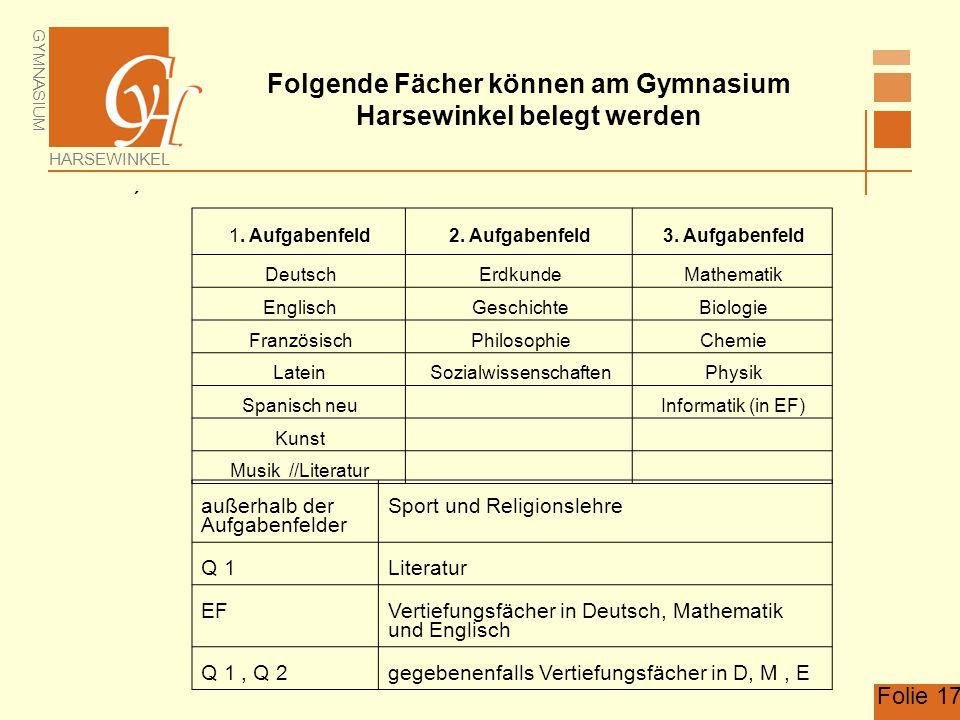GYMNASIUM HARSEWINKEL Folie 17 Folgende Fächer können am Gymnasium Harsewinkel belegt werden  1. Aufgabenfeld2. Aufgabenfeld3. Aufgabenfeld DeutschEr