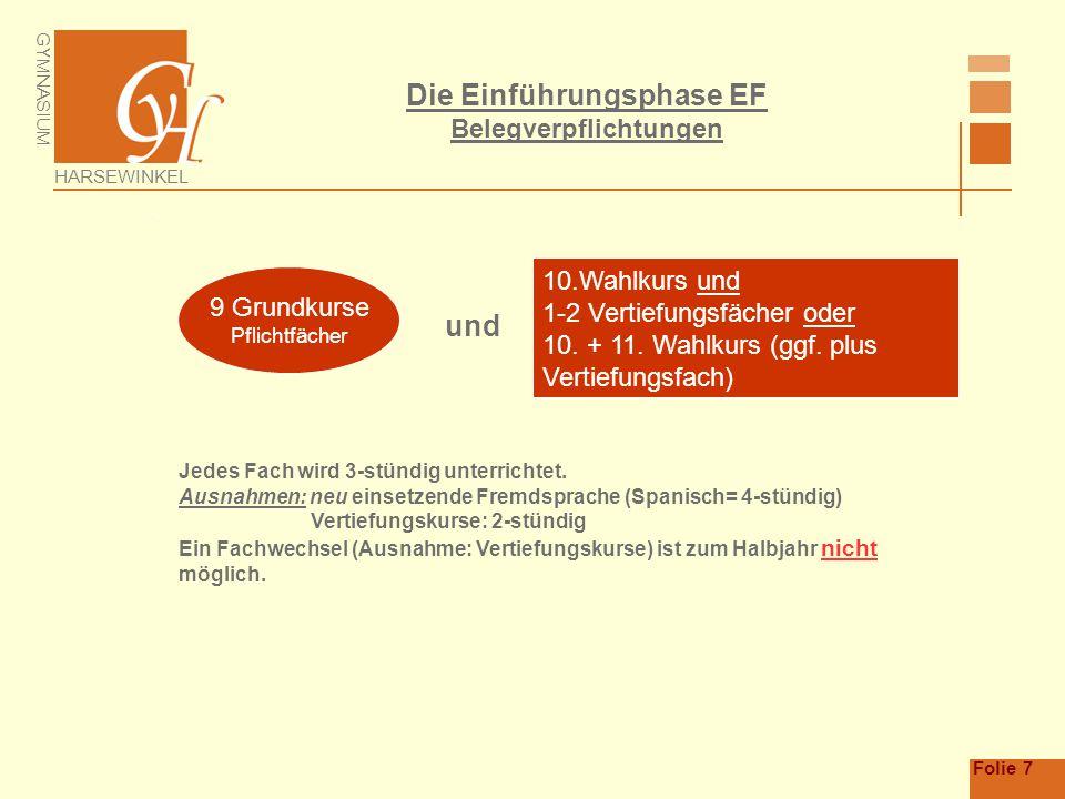 GYMNASIUM HARSEWINKEL Folie 7 Die Einführungsphase EF Belegverpflichtungen  9 Grundkurse Pflichtfächer 10.Wahlkurs und 1-2 Vertiefungsfächer oder 10.