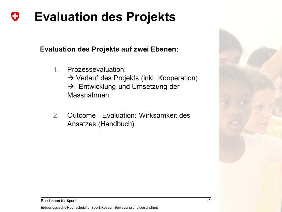 12 Bundesamt für Sport Eidgenössische Hochschule für Sport, Ressort Bewegung und Gesundheit Evaluation des Projekts Evaluation des Projekts auf zwei E