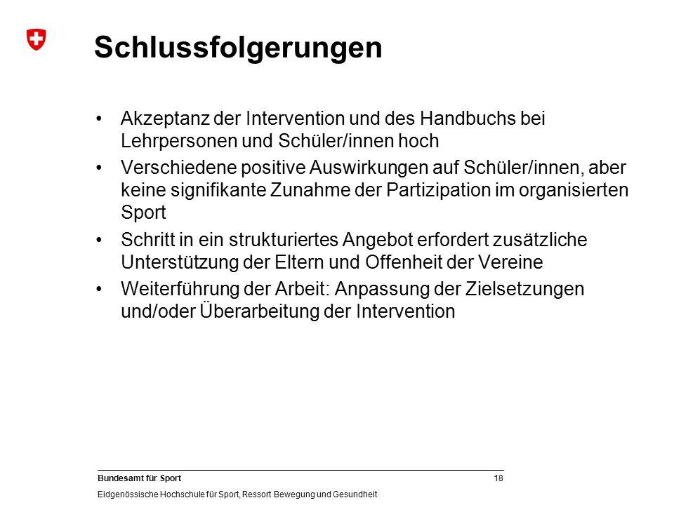18 Bundesamt für Sport Eidgenössische Hochschule für Sport, Ressort Bewegung und Gesundheit Schlussfolgerungen Akzeptanz der Intervention und des Hand