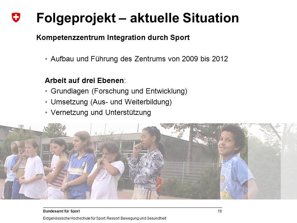 19 Bundesamt für Sport Eidgenössische Hochschule für Sport, Ressort Bewegung und Gesundheit Kompetenzzentrum Integration durch Sport Aufbau und Führun