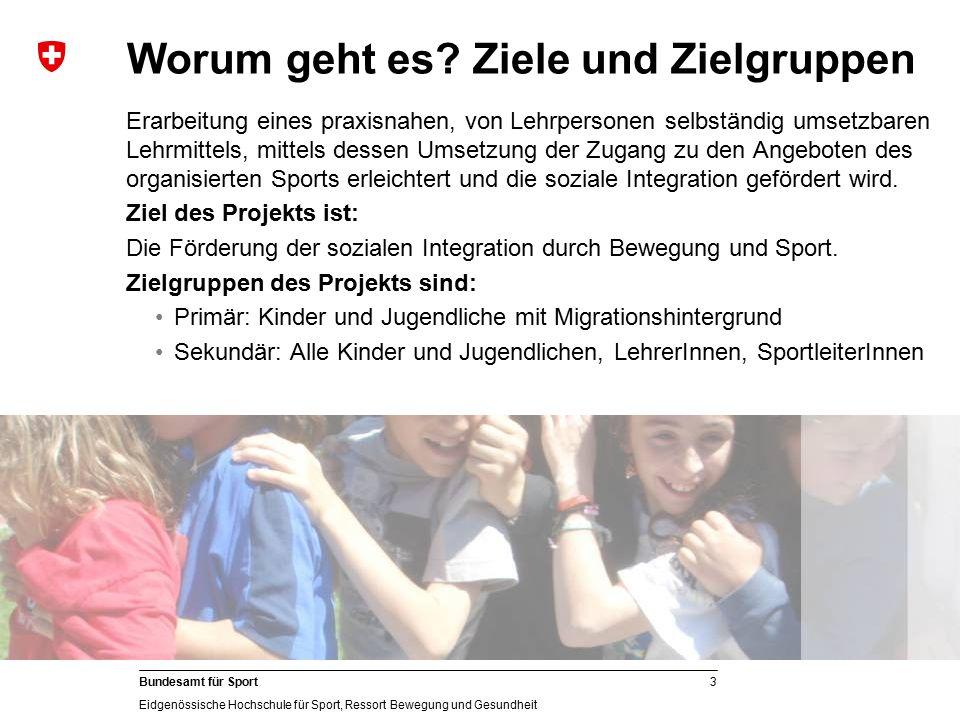 3 Bundesamt für Sport Eidgenössische Hochschule für Sport, Ressort Bewegung und Gesundheit Worum geht es? Ziele und Zielgruppen Erarbeitung eines prax