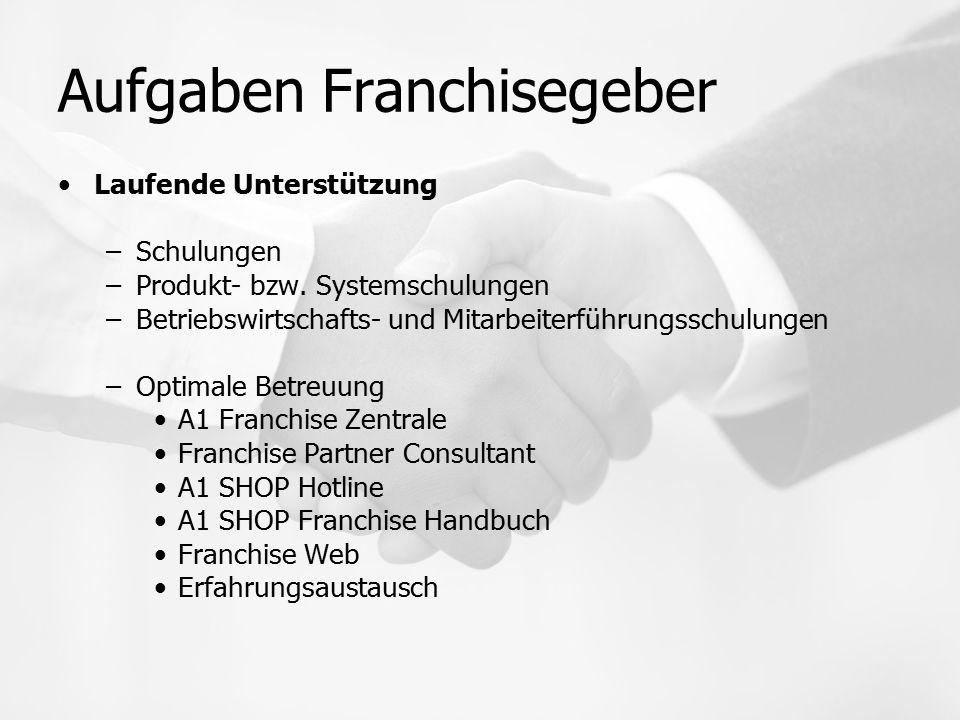 Aufgaben Franchisegeber Laufende Unterstützung –Schulungen –Produkt- bzw. Systemschulungen –Betriebswirtschafts- und Mitarbeiterführungsschulungen –Op