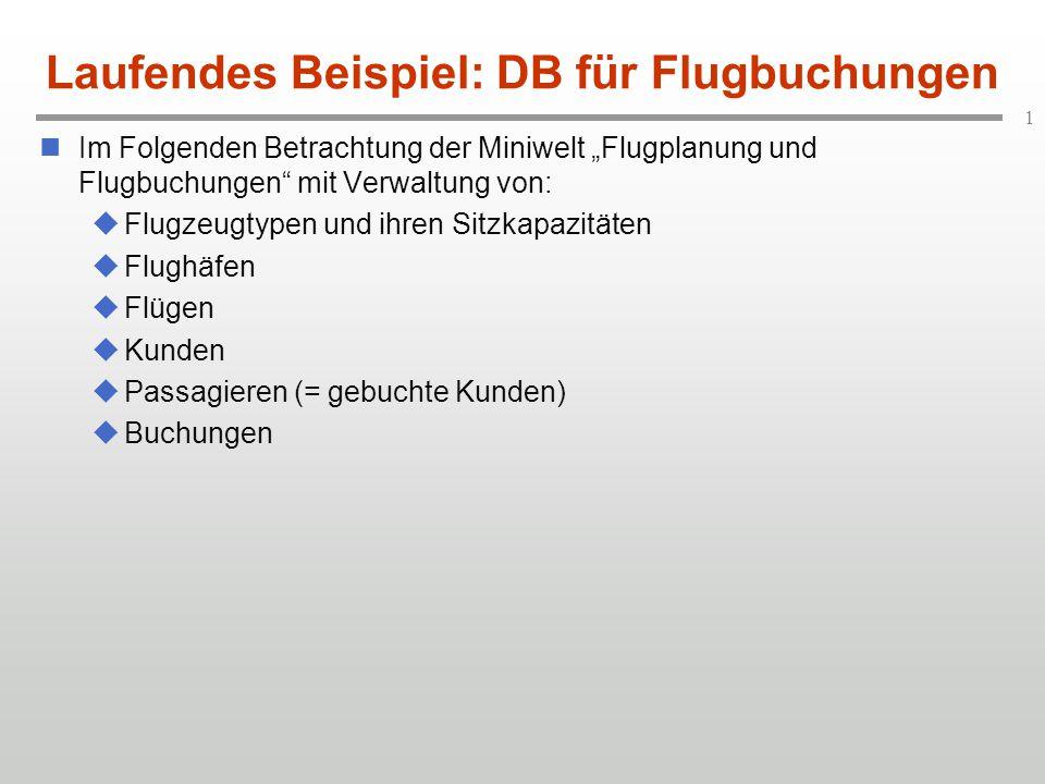 """1 Laufendes Beispiel: DB für Flugbuchungen Im Folgenden Betrachtung der Miniwelt """"Flugplanung und Flugbuchungen"""" mit Verwaltung von:  Flugzeugtypen u"""