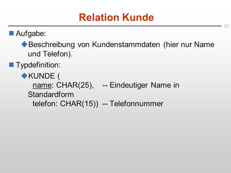 10 Relation Kunde Aufgabe:  Beschreibung von Kundenstammdaten (hier nur Name und Telefon). Typdefinition:  KUNDE ( name: CHAR(25),-- Eindeutiger Nam
