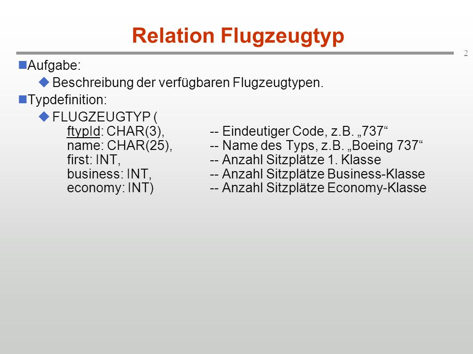 3 Ausprägung Flugzeugtyp ftypId name first business economy -------------------------------------------------------------------- 744 Boeing 747-400 22 58 292 747 Boeing 747-200 23 36 326 D10 Boeing DC10 22 45 165 AB6 Airbus A300-600 Continental 10 54 137 319 Airbus_A319 10 42 63 737 Boeing 737 7 35 75 320 Airbus A320 10 62 63 314 Airbus A310-600 Continental 0 85 137 321 Airbus A321-100 10 45 116 SCC British Airways Concorde 104 0 0 340 Airbus A340 10 48 170 380 Airbus A380-100 24 120 411