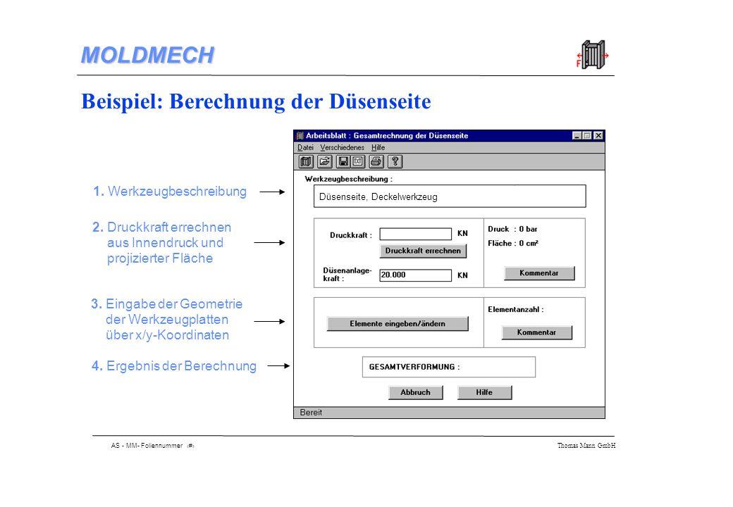 AS - MM- Foliennummer 10 Thomas Mann GmbH MOLDMECH Beispiel: Berechnung der Düsenseite 1.