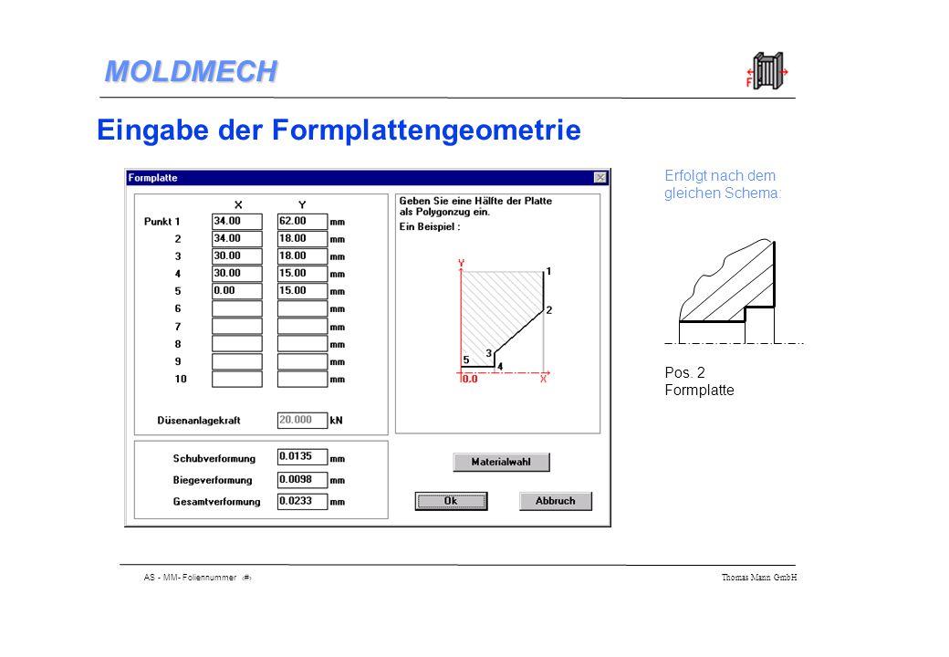 AS - MM- Foliennummer 13 Thomas Mann GmbH MOLDMECH Eingabe der Formplattengeometrie Erfolgt nach dem gleichen Schema: Pos.