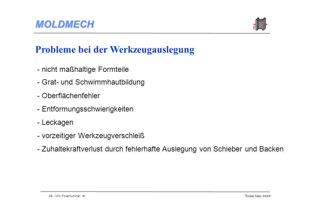 AS - MM- Foliennummer 3 Thomas Mann GmbH MOLDMECH Problemerkennung mit MOLDMECH - Überprüfung der zu Verfügung stehenden Zuhaltekraft - Berechnung der Plattendurchbiegung - Vermeidung von Schwimmhaut- und Gratbildung durch Wahl der richtigen Plattendicke - keine Zuhaltekraftverluste durch Ermittlung des nötigen Schieberübermaßes - schnelle Überprüfung durch analytische Berechnung - einfache Handhabung durch selbsterklärende Menüstruktur