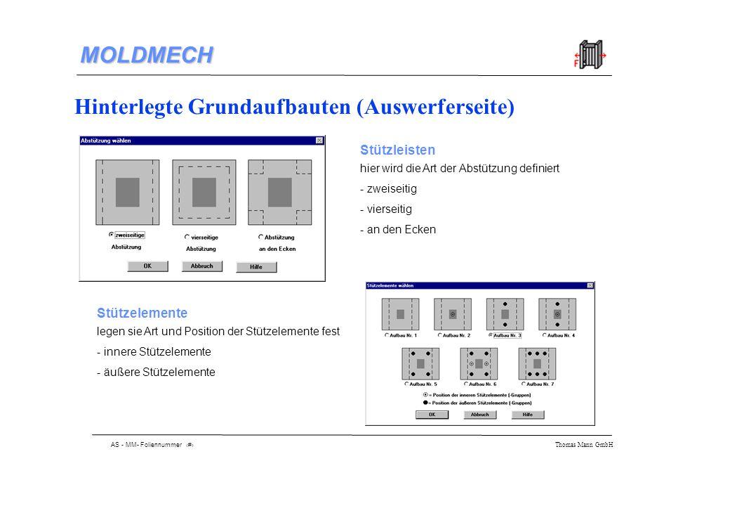 AS - MM- Foliennummer 7 Thomas Mann GmbH MOLDMECH Auswahl der Kernform - ohne Kern - Kreiskern - Rechteckkern - versteifende Wirkung Eingabe der Plattengeometrie einfache Eingabe, da Erlärung der Maße direkt nebenan steht Auswahl des Werkzeugmaterials unter Verwendung der erweiterbaren Datenbank