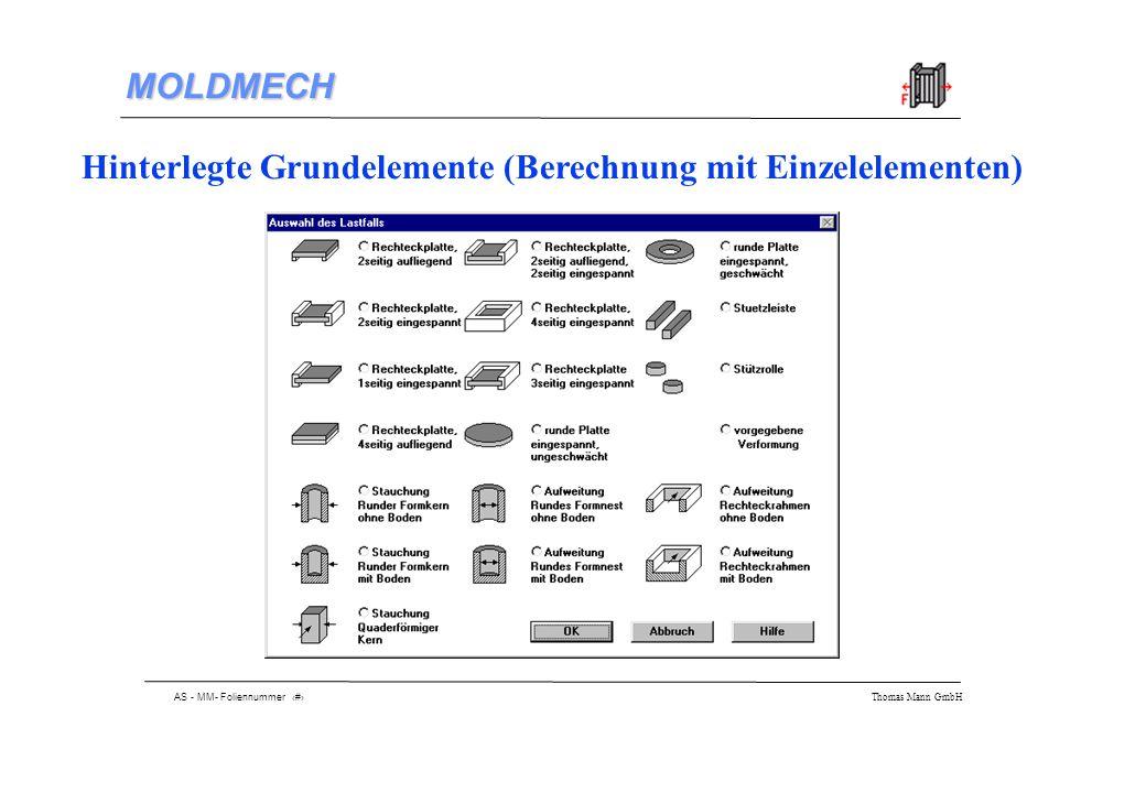 AS - MM- Foliennummer 9 Thomas Mann GmbH MOLDMECH Beispiel: Berechnung der Düsenseite 1 2 3