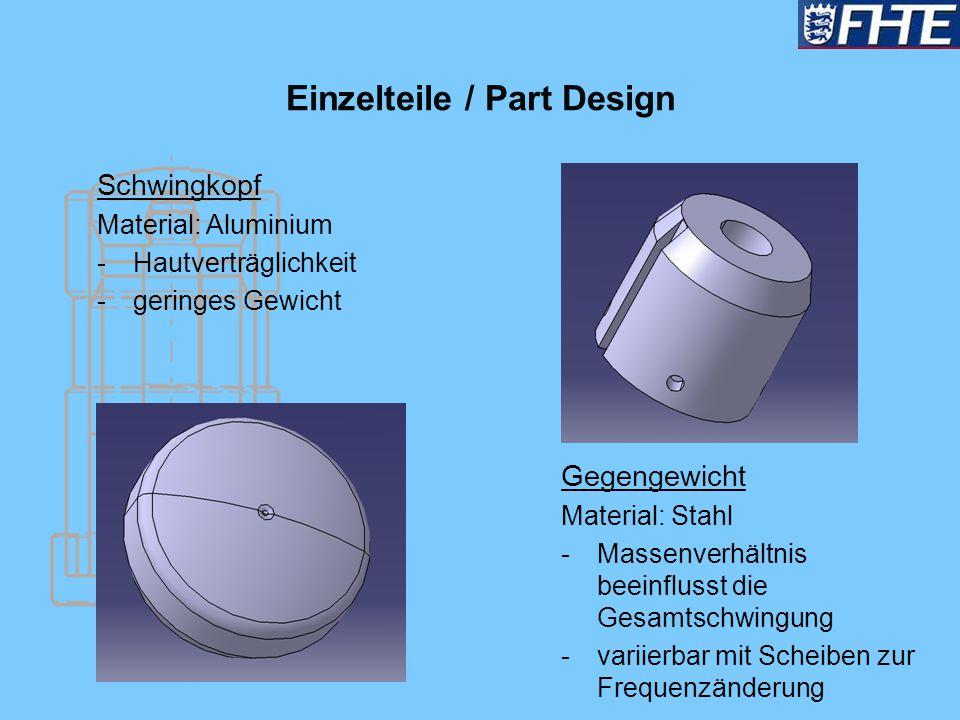 Einzelteile / Part Design Schwingkopf Material: Aluminium -Hautverträglichkeit -geringes Gewicht Gegengewicht Material: Stahl -Massenverhältnis beeinf