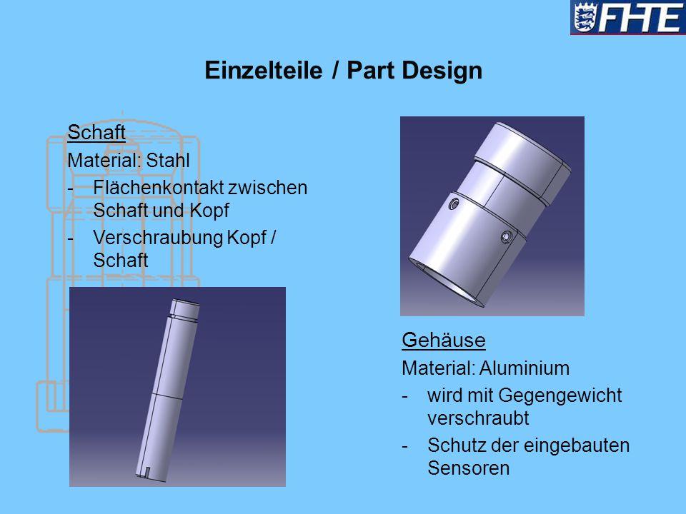 Einzelteile / Part Design Schaft Material: Stahl -Flächenkontakt zwischen Schaft und Kopf -Verschraubung Kopf / Schaft Gehäuse Material: Aluminium -wi