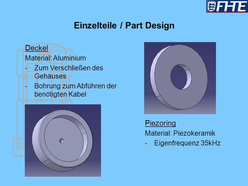 Einzelteile / Part Design Deckel Material: Aluminium -Zum Verschließen des Gehäuses -Bohrung zum Abführen der benötigten Kabel Piezoring Material: Pie